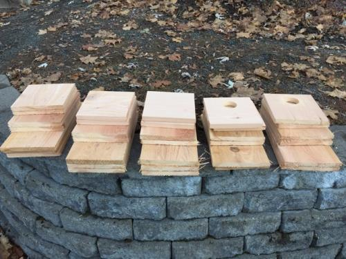 Cut boards for birdhouse