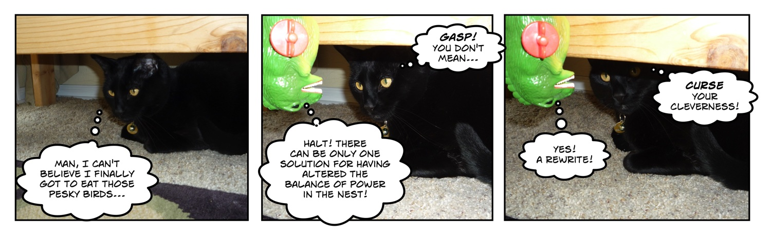 comic of black cat looking at wind-up godzilla toy
